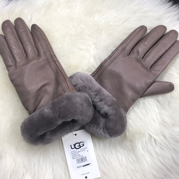 507cd970a3d UGG Fur Trimmed Smart Stormy Gray Leather Gloves NWT